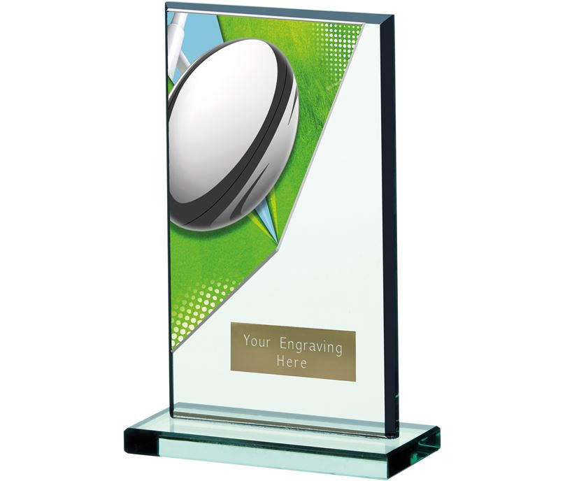 "Rugby Acryclic Glass Award 17cm (6.75"")"