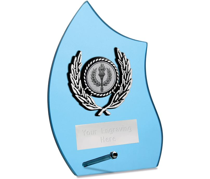 "Wave Self Standing Glass Award Blue 14cm (5.5"")"