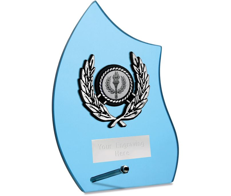 "Wave Self Standing Glass Award Blue 17cm (6.75"")"