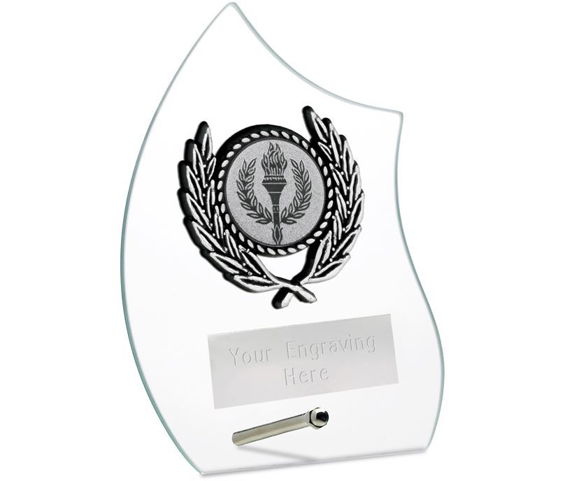 """Wave Self Standing Glass Award Clear 12cm (4.75"""")"""