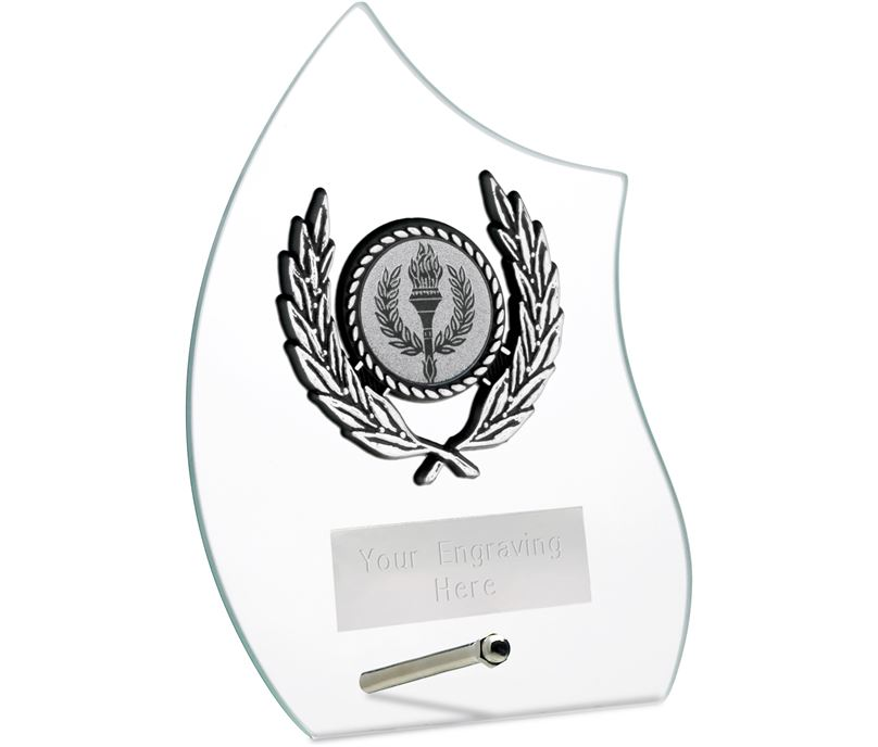 """Wave Self Standing Glass Award Clear 14cm (5.5"""")"""