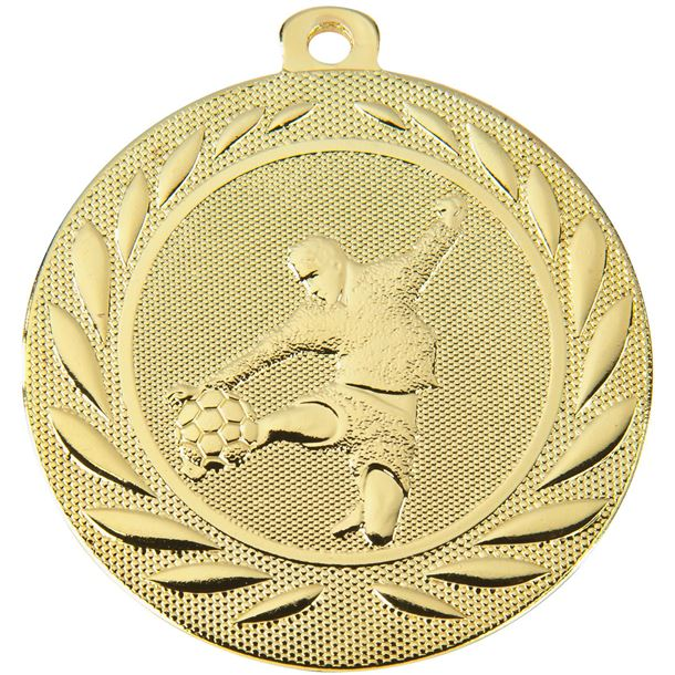 "Male Footballer Gallant Medal Gold 50mm (2"")"