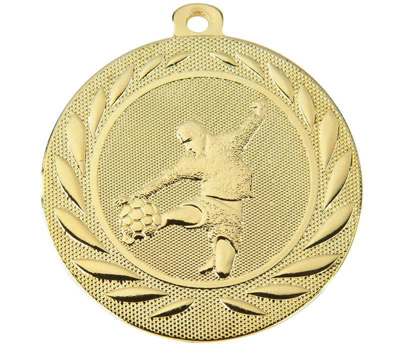 "Male Footballer Gallant Medal Gold 50mm (2"")"
