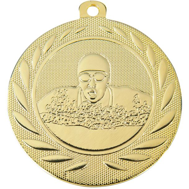 """Swimming Gallant Medal Gold 50mm (2"""")"""