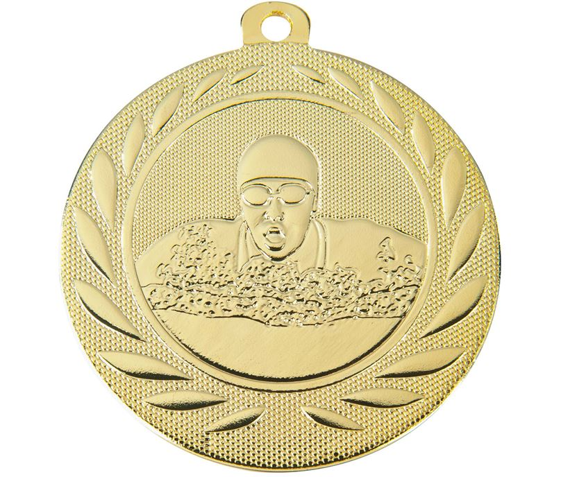 "Swimming Gallant Medal Gold 50mm (2"")"