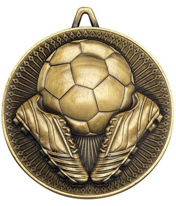 "Deluxe Football Medal Antique Gold 60mm (2.25"")"