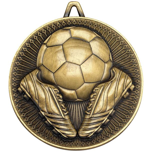 """Deluxe Football Medal Antique Gold 60mm (2.25"""")"""