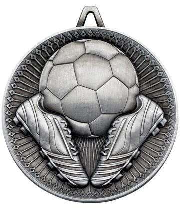 "Deluxe Football Medal Antique Silver 60mm (2.25"")"