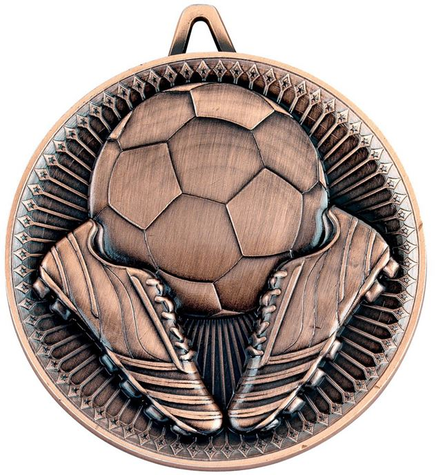 "Deluxe Football Medal Antique Bronze 60mm (2.25"")"