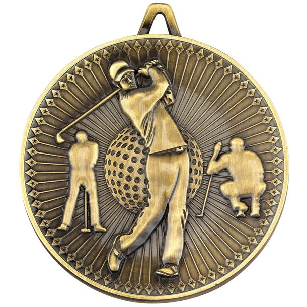 """Deluxe Golf Medal Antique Gold 60mm (2.25"""")"""