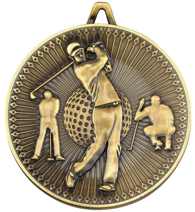"Deluxe Golf Medal Antique Gold 60mm (2.25"")"