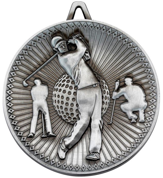 "Deluxe Golf Medal Antique Silver 60mm (2.25"")"