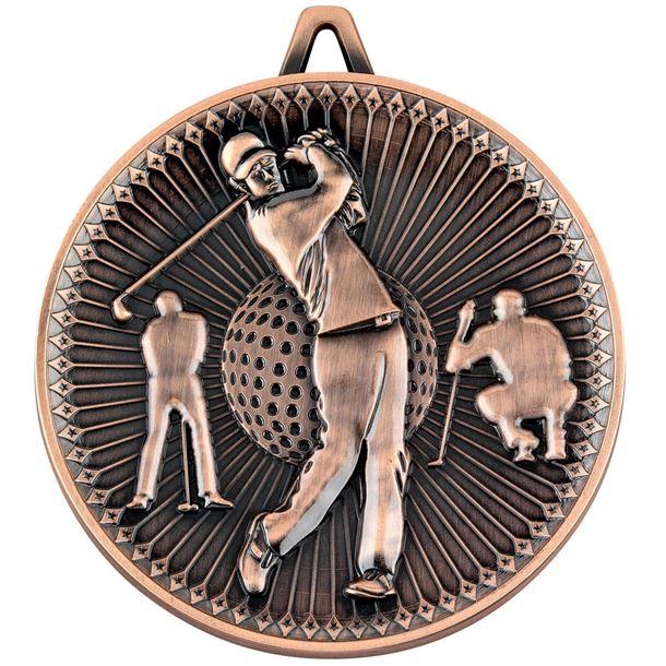 "Deluxe Golf Medal Antique Bronze 60mm (2.25"")"