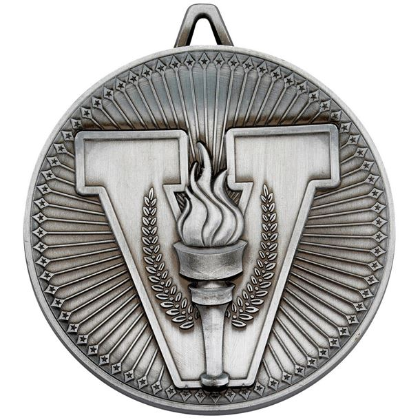 """Deluxe Victory Torch Medal Antique Silver 60mm (2.25"""")"""