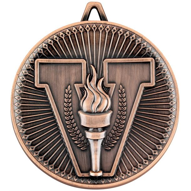 """Deluxe Victory Torch Medal Antique Bronze 60mm (2.25"""")"""