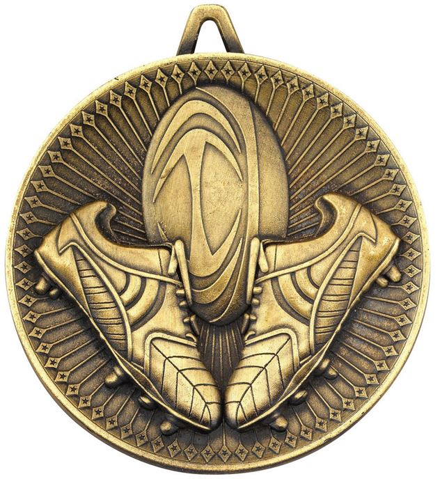 "Deluxe Rugby Medal Antique Gold 60mm (2.25"")"
