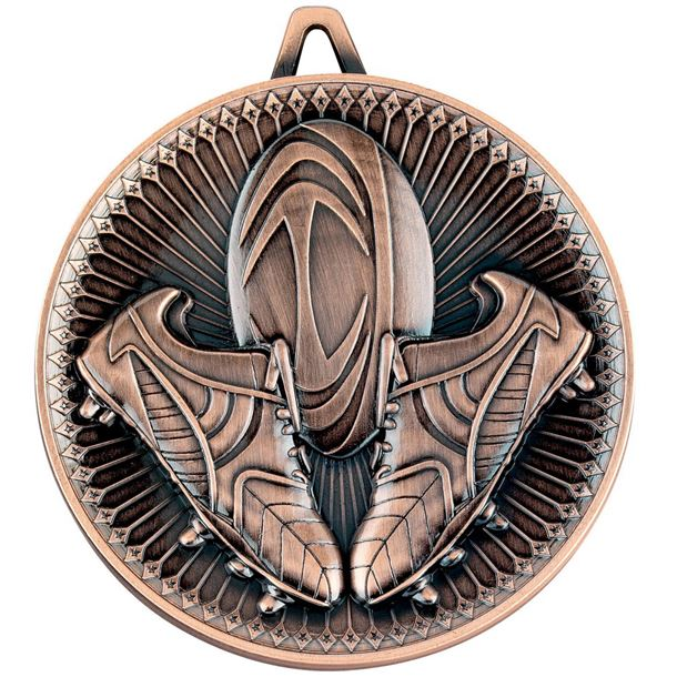 "Deluxe Rugby Medal Antique Bronze 60mm (2.25"")"