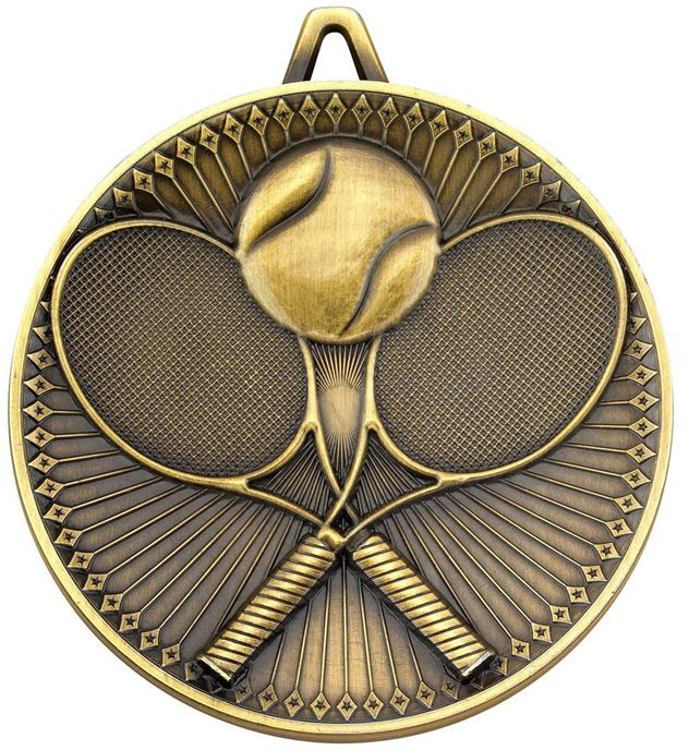 """Deluxe Tennis Medal Antique Gold 60mm (2.25"""")"""