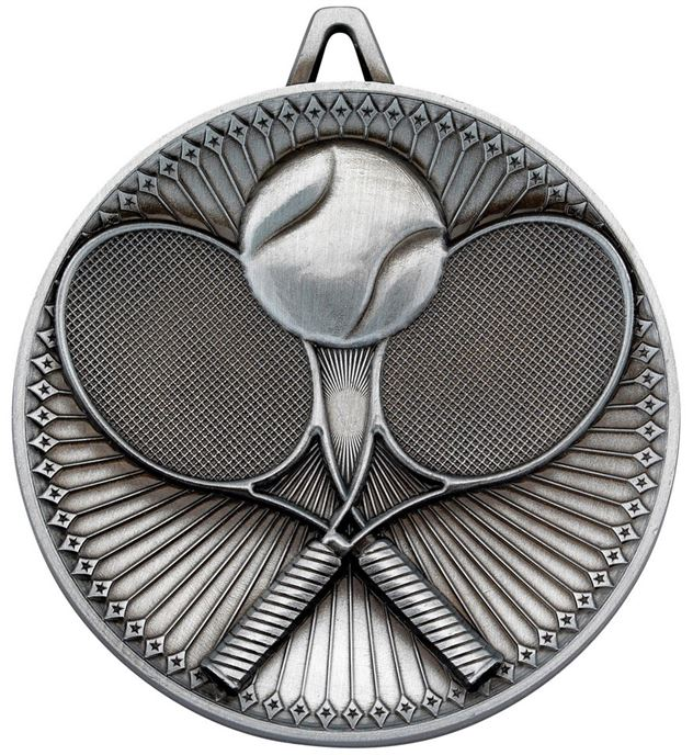 """Deluxe Tennis Medal Antique Silver 60mm (2.25"""")"""