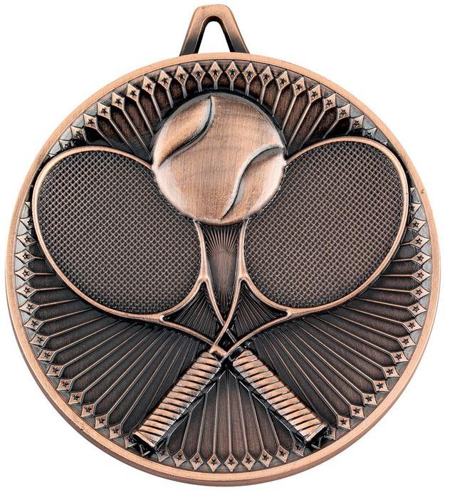 """Deluxe Tennis Medal Antique Bronze 60mm (2.25"""")"""