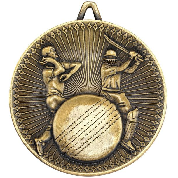 """Deluxe Cricket Medal Antique Gold 60mm (2.25"""")"""