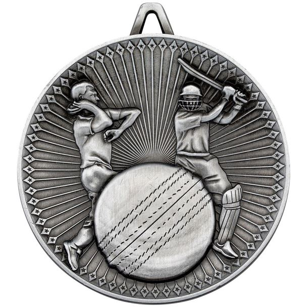 "Deluxe Cricket Medal Antique Silver 60mm (2.25"")"