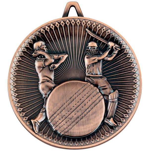 """Deluxe Cricket Medal Antique Bronze 60mm (2.25"""")"""