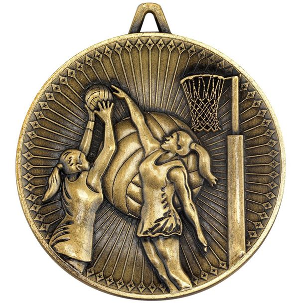 """Deluxe Netball Medal Antique Gold 60mm (2.25"""")"""