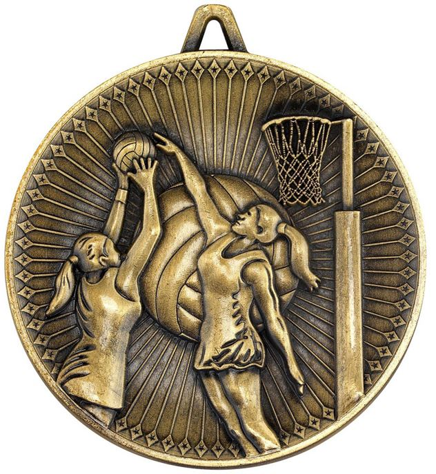 "Deluxe Netball Medal Antique Gold 60mm (2.25"")"