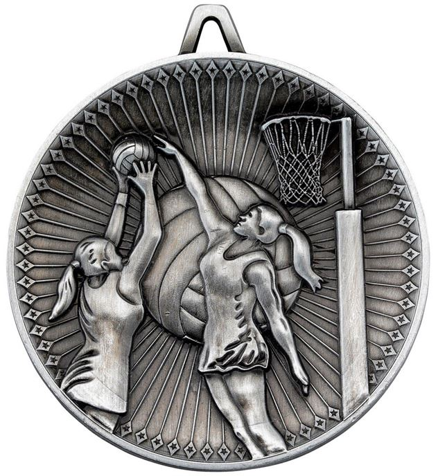 """Deluxe Netball Medal Antique Silver 60mm (2.25"""")"""