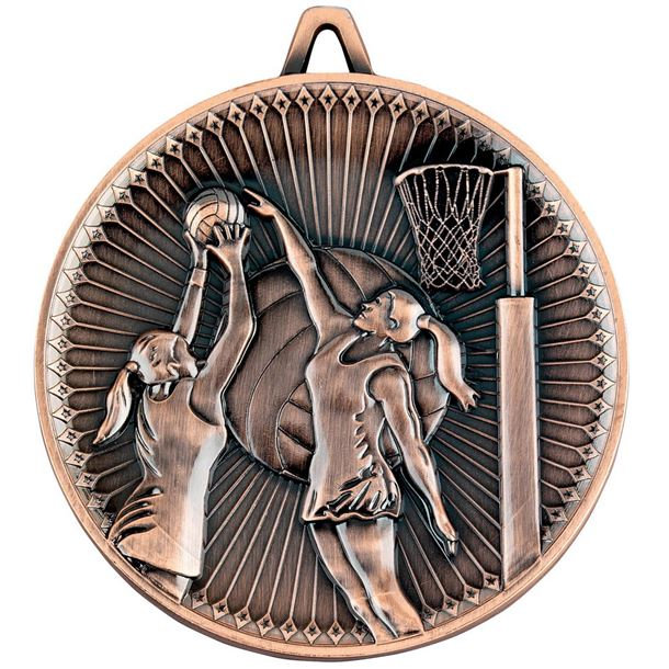 "Deluxe Netball Medal Antique Bronze 60mm (2.25"")"