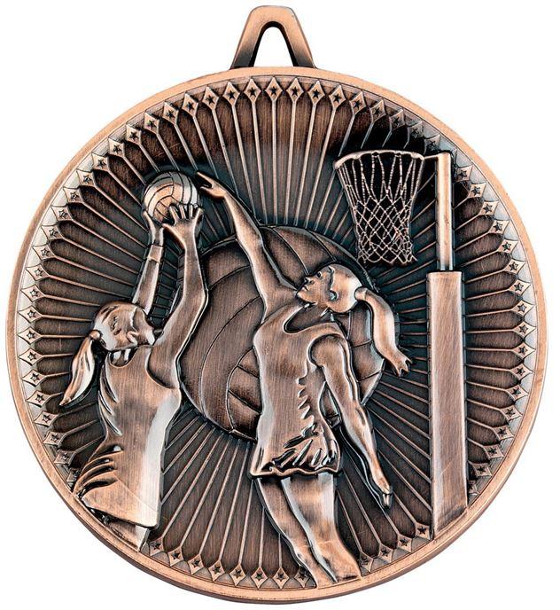 "Deluxe Netball Medal Antique Bronze 60mm (2.25"")"
