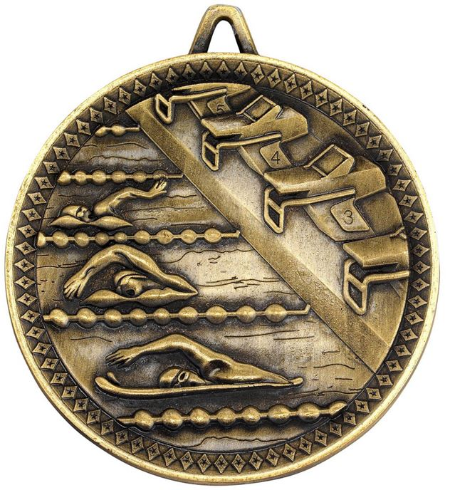 """Deluxe Swimming Medal Antique Gold 60mm (2.25"""")"""