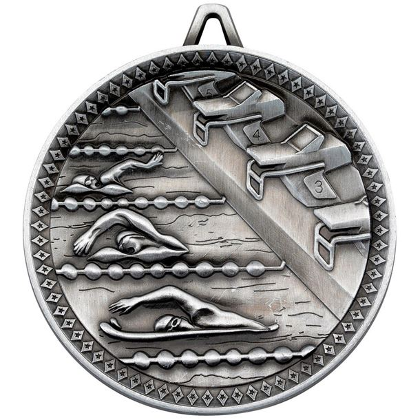 """Deluxe Swimming Medal Antique Silver 60mm (2.25"""")"""