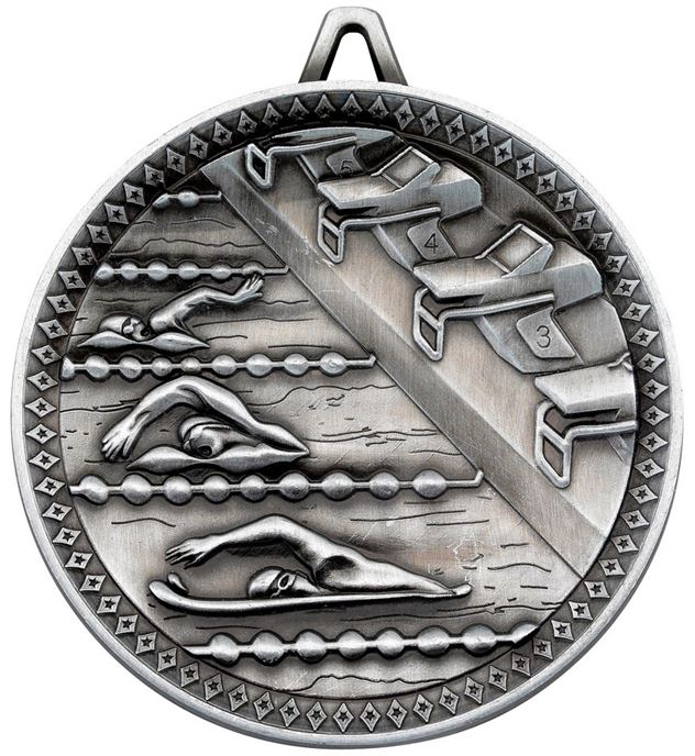 "Deluxe Swimming Medal Antique Silver 60mm (2.25"")"