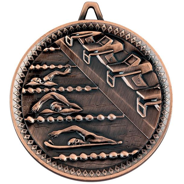 """Deluxe Swimming Medal Antique Bronze 60mm (2.25"""")"""