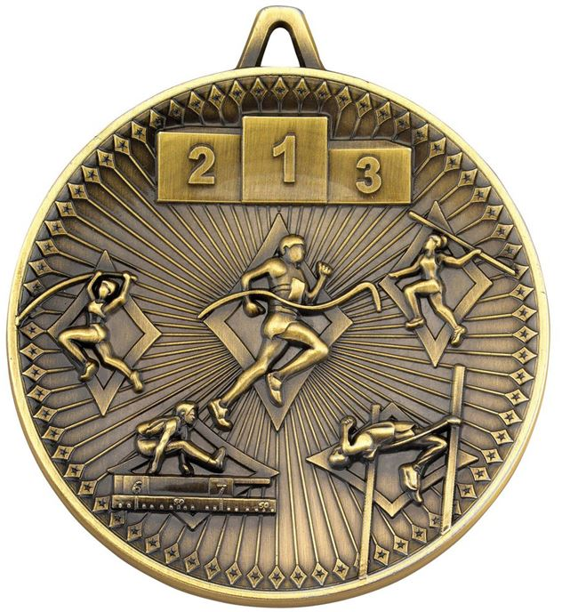 "Deluxe Athletics Medal Antique Gold 60mm (2.25"")"