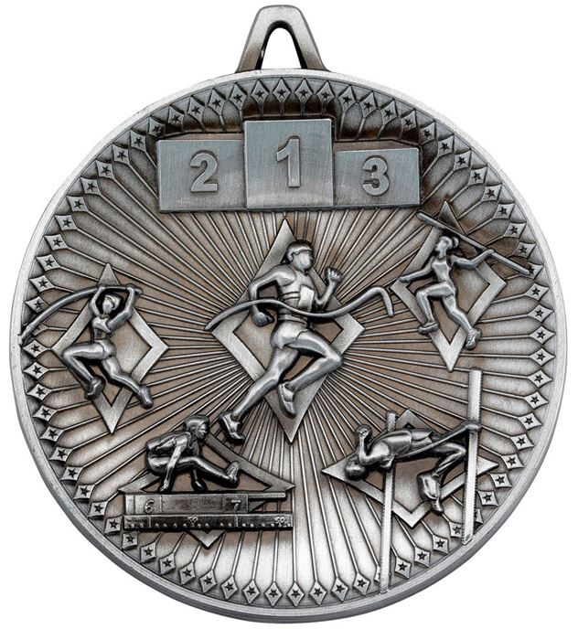 "Deluxe Athletics Medal Antique Silver 60mm (2.25"")"