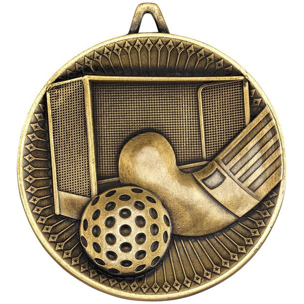 """Deluxe Hockey Medal Antique Gold 60mm (2.25"""")"""