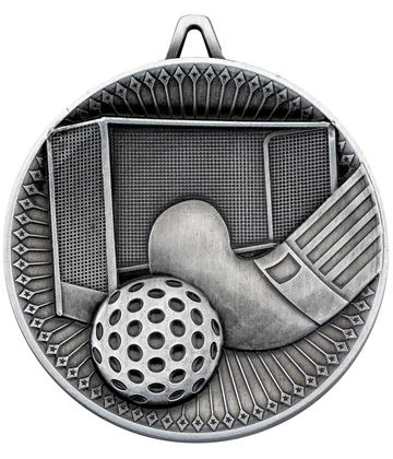 """Deluxe Hockey Medal Antique Silver 60mm (2.25"""")"""