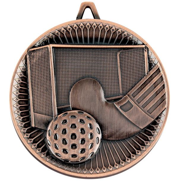 "Deluxe Hockey Medal Antique Bronze 60mm (2.25"")"