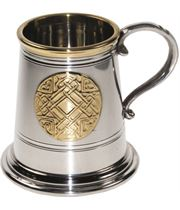 "1/4pt Brass Trimmed Celtic Circle Sheffield Pewter Tankard 7.5cm (3"")"