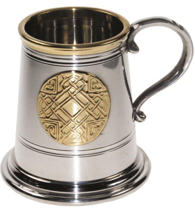 "1/4pt Brass Trimmed Celtic Circle Sheffield Pewter Tankard 7.5cm (3"")"