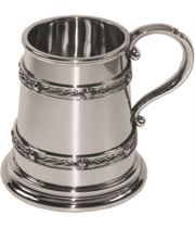 "1/4pt Double Celtic Band Children's Sheffield Pewter Tankard 7.5cm (3"")"