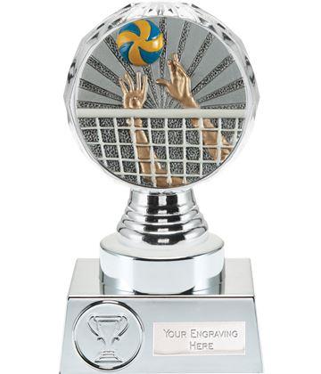 "Volleyball Trophy Silver Hemisphere 15cm (6"")"