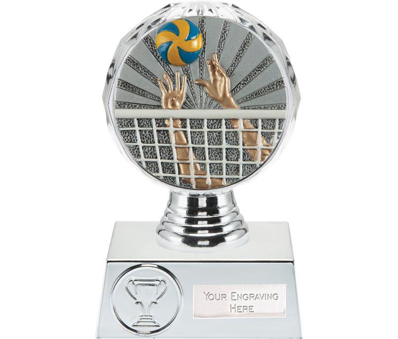 "Volleyball Trophy Silver Hemisphere 13.5cm (5.25"")"