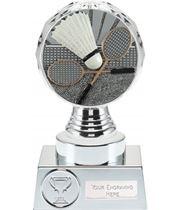 "Badminton Trophy Silver Hemisphere 15cm (6"")"