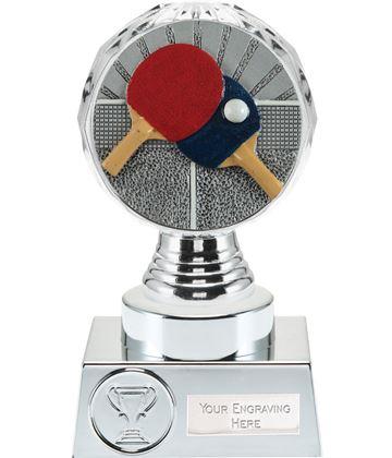 "Table Tennis Trophy Silver Hemisphere 15cm (6"")"