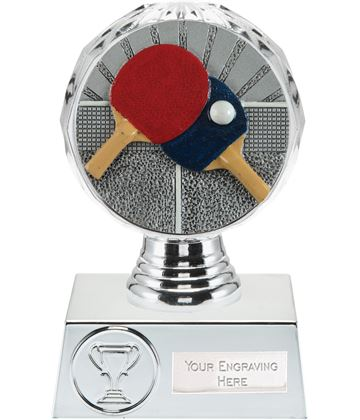 "Table Tennis Trophy Silver Hemisphere 13.5cm (5.25"")"
