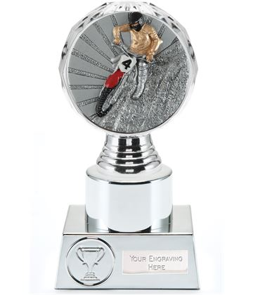"Motocross Trophy Silver Hemisphere 16.5cm (6.5"")"